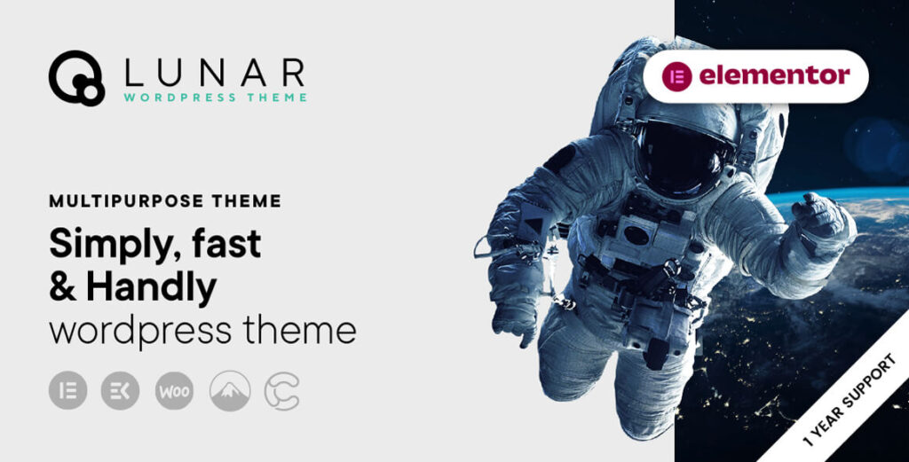 Cover LUNAR THEME - WordPress Theme with Elementor